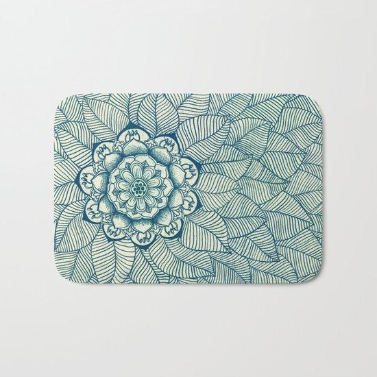 Emerald Green, Navy & Cream Floral & Leaf doodle Bath Mat
