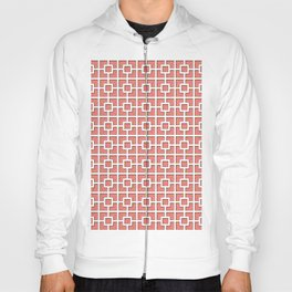 Coral Pink Square Chain Pattern Design Hoody