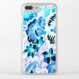 Vintage Floral Turquoise Green Lavender Clear iPhone Case