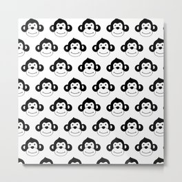 Cute monkies in black and white Metal Print