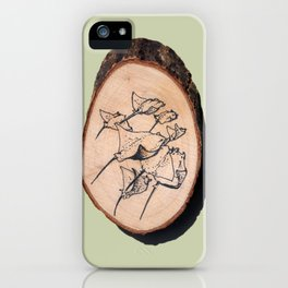 Devil Ray Wood Slice iPhone Case