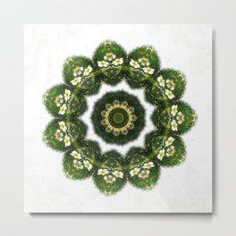 Little White Wildflower Kaleidoscope Art 4 Metal Print