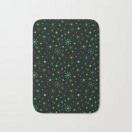 Atomic Starry Night in Neon Green Glow + Black Bath Mat