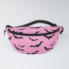 Black Bat Pattern on Pink Fanny Pack