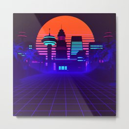 Synthwave Space #5: Space city Metal Print