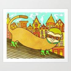 Ferret on Rollerskates Art Print