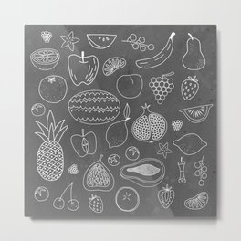 Fruity Chalkboard Metal Print