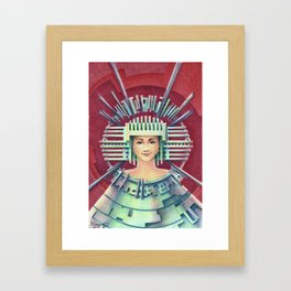 Portrait with silver Chullo Framed Art Print