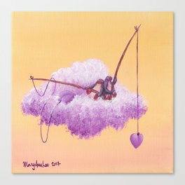Purple penguin couple fish for purple hearts in a yellow sky Canvas Print