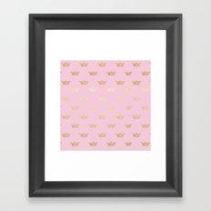 Princess gold crown pattern on pink backround Framed Art Print