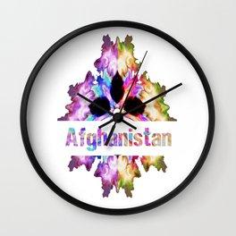 Afghanistan gift tie dye watercolor  Wall Clock