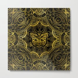 Gold Framed  Mandala Cat Metal Print