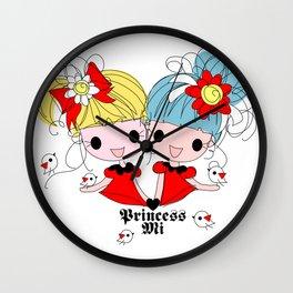 Princessmi illustration Two happy girls Wall Clock