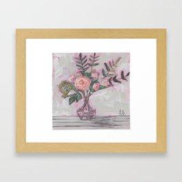 Pops of Hot Pink Florals Framed Art Print