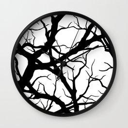 Black n White branche Wall Clock