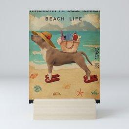 Beach Life Sandy Toes American Pit Bull Terrier Mini Art Print