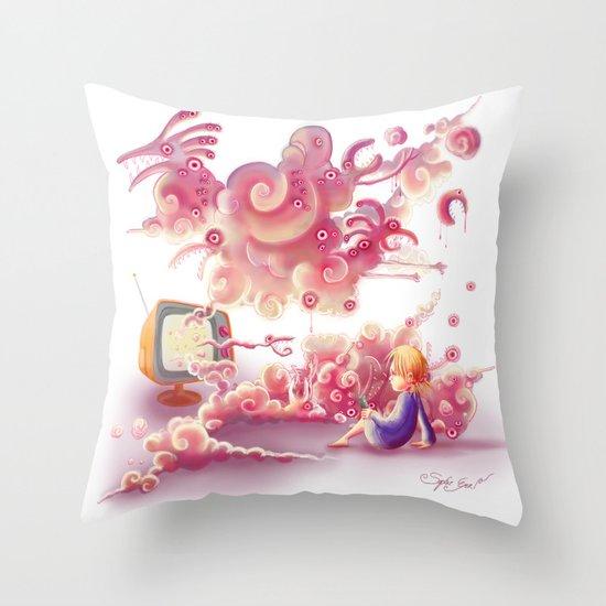 A strange television… Throw Pillow