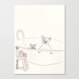 French Bulldogs Bath Time Canvas Print