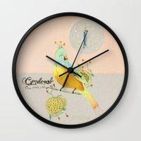 cardinal Wall Clocks featuring Cardinal by De Hermo / HUM