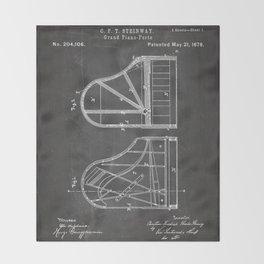 Steinway Grand Piano Patent - Piano Player Art - Black Chalkboard Throw Blanket