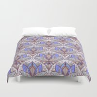 bedding Duvet Covers featuring Art Deco Lotus Rising 2 - sage grey & purple pattern by micklyn