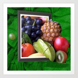 Modern Fruit Basket Still Life Art Print