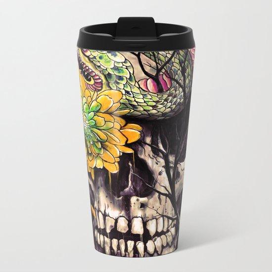Snake and Skull Metal Travel Mug