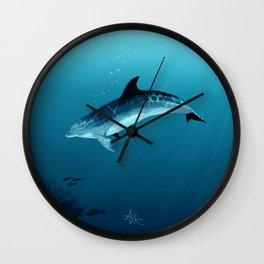 """Blackfin the Dolphin"" by Amber Marine ~ Digital Art, (Copyright 2014) Wall Clock"