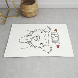 Cute Funny Pitbull Dog Rescue Gift Dog Lover Rug