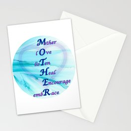 An ode to MOTHER - blue, purple, heart Stationery Cards