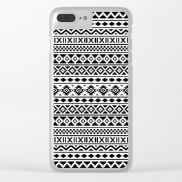 Aztec Essence Pattern Black on White Clear iPhone Case