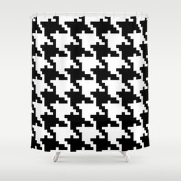 Black White Houndstooth Shower Curtain