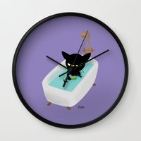 bath Wall Clocks featuring Bath Time by BATKEI