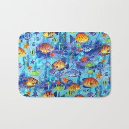 Underwater cartoon cute pattern Bath Mat