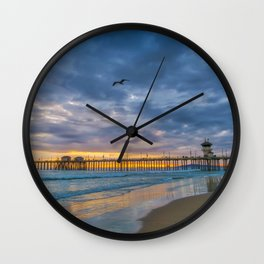Cloudy Sunset at Huntington Beach Pier Wall Clock
