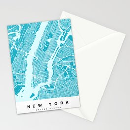 New York Map  Aqua  More Colors, Review My Collections Stationery Cards