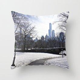 Central Park snow scene Throw Pillow