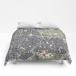 Madrid city map engraving Comforters