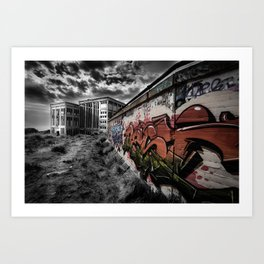 Old Power Station Building with Graffiti Art Print