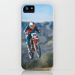 Motocross Jump in the Mountains iPhone Case