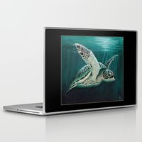 "biology Laptop & iPad Skins featuring ""Moonlit"" - Green Sea Turtle, Acrylic by Amber Marine"