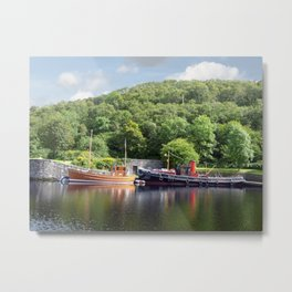 Clyde Puffers on the Crinan Canal Scotland Metal Print