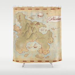 Map of Neverland Shower Curtain