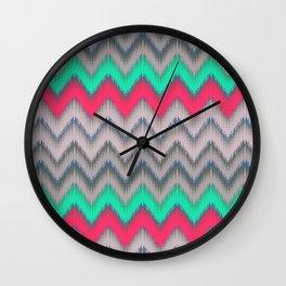 Modern turquoise neon pink gray geometrical ikat Wall Clock