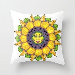 Sunflower Sunshine Girl by Amanda Martinson Throw Pillow