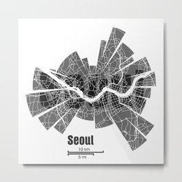 Seoul Map Metal Print