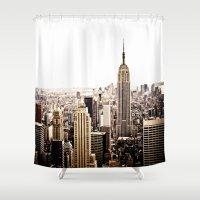 new york skyline Shower Curtains featuring New York City Skyline by Vivienne Gucwa