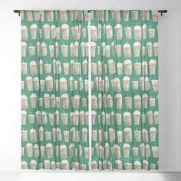 Coffee Cup Line Up in Green Sheer Curtain