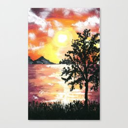 Water Reflection Sunset Canvas Print