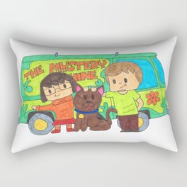 Sleuth Couple and Dog Rectangular Pillow